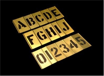 2 Inch Alpha Numeric Inter Locking Brass stencil Set - 45 Pieces