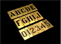 3 Inch Alpha Numeric Inter Locking Brass stencil Set - 45 Pieces