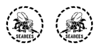 1 PAIR OF SEABEE LOGOS RIGHT AND LEFT