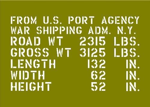 world war ii jeep shipping stencil