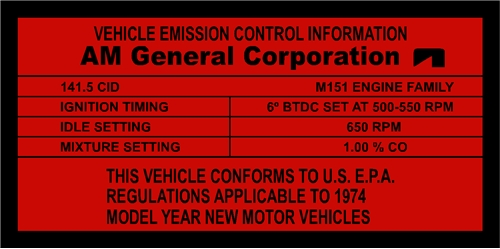 M151 EMISSION CONTROL SETTINGS
